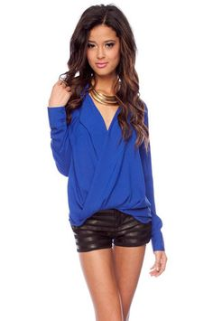 Twisted Around Top in Blue $33 at www.tobi.com