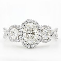 3 Stone Halo Diamond Engagement Setting For Oval in 14K White Gold - R3024