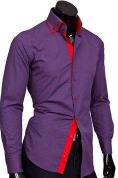 b8ca1ff3692 Фиолетовая приталенная мужская рубашка купить недорого в Москве