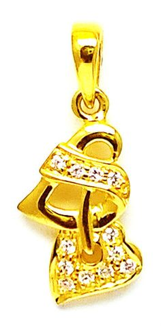 New Gold Heart Pendant Fancy Design Bis Hallmarked 22k 22ct(916 Pure) Cz Stone