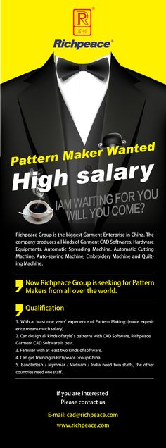 Richpeace Group is seeking for pattern maker from all over the world.If you have interest, please contact with us.