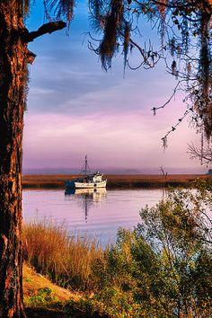 I love it when nature provides her own framing. I found this perfectly framed shrimp boat reflection in lavender morning light just outside the city of Savannah, Georgia on the Wilmington River.