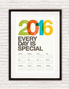 2016 calendar, Mid century modern, Helvetica calendar, calendar poster print, retro print,  wall calendar, Office decor, inspirational quote by handz on Etsy https://www.etsy.com/listing/169298657/2016-calendar-mid-century-modern