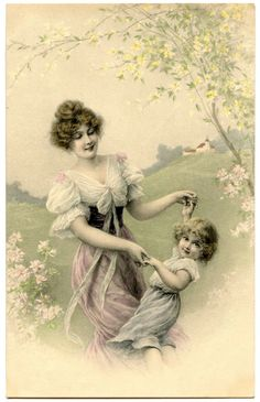 Vintage Mother and Child Image @Karen Jacot - The Graphics Fairy