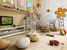 Inspiração para brinquedoteca, parede com desenho.