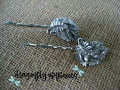 Hair Pins, Silver Tone, Leaves, Vintage Earring, Upcycled, Recycled, Repurposed {28}