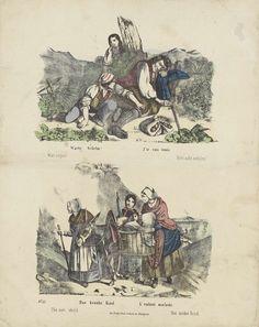 Friedrich Gustav Schulz | Diefstal en een ziek kind, Friedrich Gustav Schulz, Anonymous, 1820 - 1865 | Blad met 2 voorstellingen. Boven: een jongen en een meisje die fruit van een slapende man proberen te stelen. Onder: drie vrouwen met een ezel die een mand met een ziek kind draagt. Onder elke afbeelding een onderschrift in het Engels, Duits, Frans en Nederlands. Genummerd linksonder: No. 47.