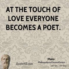 At the touch of love everyone becomes a poet. Description from quotehd.com. I…