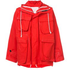 Camiel Fortgens short hooded coat ($1,750) ❤ liked on Polyvore featuring men's fashion, men's clothing, men's outerwear, men's coats, red, mens hooded coat, mens short trench coat, men's cotton sport coat and mens red coat