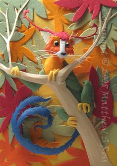 Fantasy Creature ACEO Paper Sculpture 2D PRINT by by PaperMatthew, $8.00