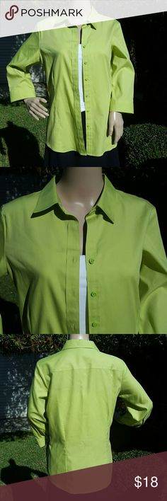 Beautiful Pea Green top Coldwater Creek no iron pea green button up top. Very comfortable to wear. In excellent condition - only worn once. No signs of wear and tear, no stains or rips.   Comes from a smoke-free home. Coldwater Creek Tops