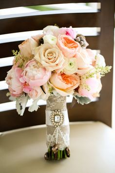 Burlap and lace bouquet wrap with ribbon and by ItsRainingPretty, $30.00
