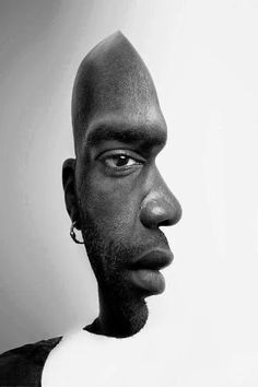 """Illusion"" by Jenna S. Gestalt psychology! This technique is used to teach students about the power of visual perception. Our minds are accustomed to picking up pieces of visual information and organising it into something whole and familiar. Here you see a profile figure as well as the face of a man. What I like about this is that it's the first example I've seen that doesn't simply use a White person as the default image. #socialscience  Via Jan Moren - Google+."
