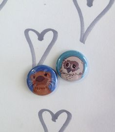 Otter & Owl Mascot Pin Back Buttons. Single by theOtterandtheOwl