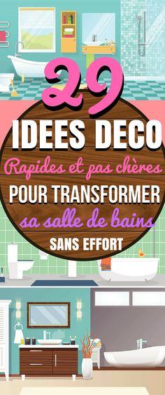 Voici 29 idées déco pour transformer et embellir sa salle de bains. Quand il s'agit de décorer et de rafraîchir une pièce, les salles de bains sont souvent négligées. En général, on donne la priorité aux chambres, à la cuisine et à la salle à manger. Pourtant, il n'est pas nécessaire de totalement rénover votre salle de bains pour lui donner un nouveau souffle. Voici quelques idées de décoration rapides et abordables pour donner à votre salle de bains .. #diy #deco #déco #décoration…