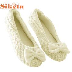 Siketu 최고의 선물 새로운 패션 여성 홈 슬리퍼 bowknot 여성 캐시미어 따뜻한 yoga 신발 드롭 선박 bea6624