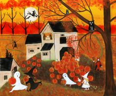 HALLOWEEN GHOST WITCHES AUTUMN PUMPKINS FOLK ART PAINTING