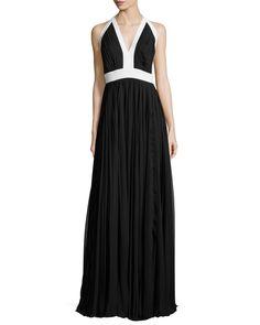 Halter-Neck Sunray-Pleated Gown, Ivory/Black - Carmen Marc Valvo