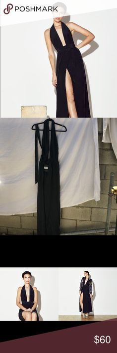 reformation mezzanine dress black nwt xl easy halter silk black wrap dress. super sexy fit. nwt xl. good for sizes 8-12. Reformation Dresses Midi