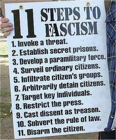 11 Steps to Fascism...check off all of them - now on #11. It has already started. !!  So what is the government doing about it and what are we the country going to do about it.?? It happened in Europe over 50 years ago but people then did not have the means to get the info of what was happening but we do.