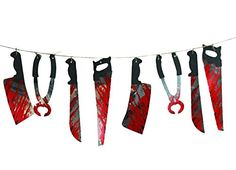 Imixshopcs Halloween Garland Bloody Saw Knife Weapons Tools Hanging Prop Decor Party Bar Club Holiday Toys