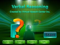 Smart Speech Therapy LLC: App Review and Giveaway(ends 3/1/13)-Verbal Reasoning by Virtual Speech Center. Pinned by SOS Inc. Resources. Follow all our boards at pinterest.com/sostherapy for therapy resources.