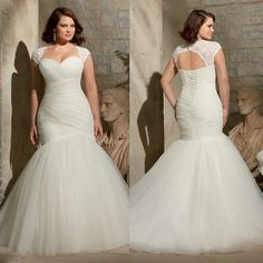 Wholesale Plus Size Mermaid Wedding Dresses 2015 Two Piece with Detachable Lace Bolero Cap Sleeve Jacket Corset and Tulle Big Bridal Gowns Cheap Hot, Free shipping, $132.69/Piece | DHgate Mobile