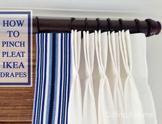How To Pinch Pleat Ikea Curtains - Simple tutorial for Ikea hack Ikea Curtains, No Sew Curtains, Pleated Curtains, Rod Pocket Curtains, Ikea Curtain Rods, Apartment Curtains, Plain Curtains, Floral Curtains, Window Curtains
