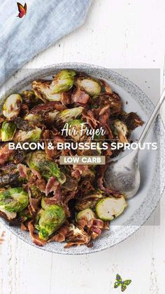 Air Fryer Bacon and Brussels Sprouts If you have an air fryer, here is a fool proof method for making the best, crispy Brussels Sprouts with Bacon. These have so much flavor and make the perfect side dish or breakfast!<br> Gluten Free Recipes Videos, Top Recipes, Recipe Videos, Oven Recipes, Cooking Recipes, Crispy Baked Chicken Thighs, Baked Chicken Recipes, Healthy Low Carb Recipes, Clean Eating Recipes