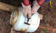 4This little wood stove was made from an old propane tank. Tiny Wood Stove Made From A Propane Tank Published on Oct 17, 2013 The tools you'll need to build something like this are of co…