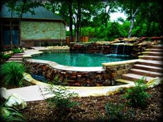 Rock waterfalls all around your pool