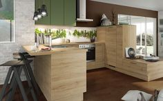 Küche Im Natürlichen Look Mit Küchenfronten In Grün Und Holz