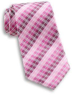 Synrgy Gingham Plaid Silk Tie Casual Male XL Big & Tall