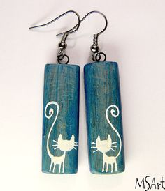 Blue handmade wooden  rectangle earrings with white by MaijaMSArt, $12.00