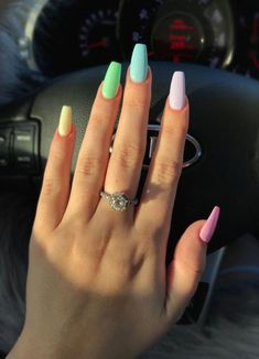 133 most eye catching different color coffin nails for prom and . Coffin Nails coffin nails for prom Summer Acrylic Nails, Best Acrylic Nails, Pastel Nails, Summer Nails, Spring Nails, Acrylic Nail Designs For Summer, Pink Nail, White Nail, Winter Nails