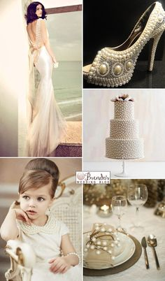 Vintage pearl wedding inspiration board with gold and cream - Great Gatsby Style