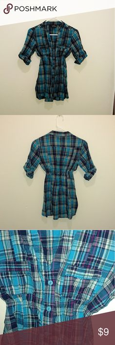 blue plaid button up 3 quarter sleeve size small My Obsession blue plaid button up 3 quarter sleeve size small  Cute plaid button up shirt, a little longer so it's a great top to wear with leggings and boots! Cinched waist gives it a nice shape. Gently used condition. 100% cotton. Machine washable. My Obsession Tops Button Down Shirts
