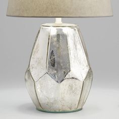 Antique Mercury Faceted Glass Accent Lamp Base by World Market Unique Table Lamps, Table Lamp Base, White Table Lamp, Silver Lamp, Copper Lamps, Grande Lampe, Accent Lighting, Lamp Sets, Faceted Glass
