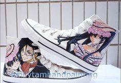 bcebdc3ad656 Black Butler  Anime Sneakers Black Butler Hand Painted Shoes Black Butler  Anime