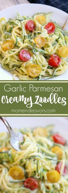 Diet Fast - 2 Week Diet - Creamy Garlic Parmesan Zoodles - a fast healthy dish! A Foolproof, Science-Based System that's Guaranteed to Melt Away All Your Unwanted Stubborn Body Fat in Just 14 Days.No Matter How Hard You've Tried Before! Healthy Dishes, Veggie Dishes, Pasta Dishes, Healthy Eating, Clean Eating, Low Carb Recipes, Diet Recipes, Vegetarian Recipes, Cooking Recipes