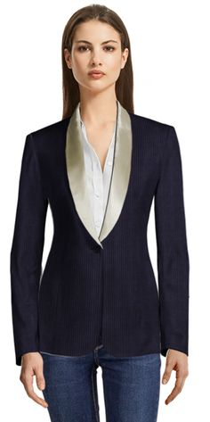 Blue Striped Single Breasted Blazer with Beige Shiny Lapels Lapels, Blazers For Women, Design Your Own, Tuxedo, Single Breasted, Corduroy, Velvet, Brand New, Beige
