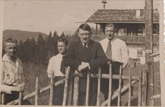Fabulous photo of Hitler at Haus Wachenfeld in the summer of 1933. This is probably the first photo showing Erich Kempka with Hitler. Kempka was Hitler's exclusive chauffeur from 1936 until Hitler's death. He's in the white shirt to the left of Hitler and Bruno Gesche (the taller man) is on the right. Bruno was Hitler's primary bodyguard for years, though curiously, he doesn't show up in many photos with Hitler. He had numerous run-ins with Himmler. (via putschgirl)