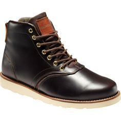 Low boots à la Quiksilver. We appreciate the hints-of-rugged style, the polished full-grain leather, and the gold nut lace eyelets. The off-white Vibram soles are a clincher. $165. http://www.adventure-journal.com/2013/12/saw-it-liked-it-quiksilver-bishop-boot-mens/