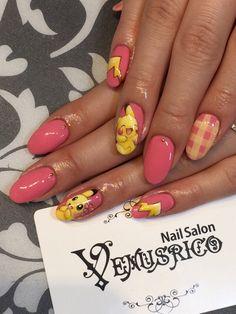 『Happy Valentine's Day!』 - New Ideas Neon Nail Art, Pink Nail Art, Neon Nails, Goth Nails, Swag Nails, Acrylic Nail Designs, Nail Art Designs, Pikachu Nails, Kawaii Nail Art