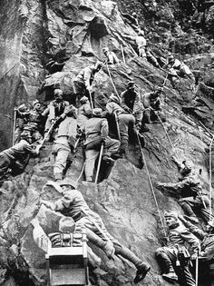 "Original caption :Troopers of an Italian alpine unit on the move during the so-called Mountain War of the First World War. Pinner comment : It was'nt exactly a ""so-called"" mountain war, it actually  was a merciless , fierce ,  high mountain war between our troops and the Austrians."