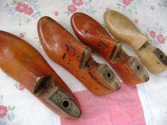 Quartet of Antique Wood Shoe Forms by ArtandBookShop on Etsy, $35.00