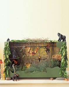 From Martha Stewart - This jungle diorama is just too cute..... I might have my students make a Missouri diorama...Missouri animals, insects.... hmmmm.... Design a biome for a made up animal.....