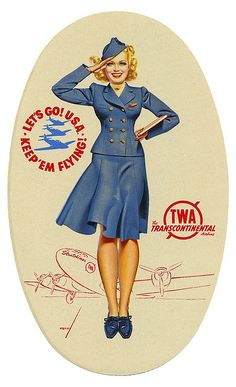 George Petty TWA advertising luggage label TRUE Calendar, 1947 George Petty was an American pin-up artist whose art appeared primarily in ESQUIRE and Fawcett Publications's TRUE but was also in calendars marketed by ESQUIRE, TRUE, and Ridgid Tool Company. Vintage Labels, Vintage Signs, Vintage Ads, Vintage Images, Vintage Prints, Vintage Airline, Vintage Market, Vintage Luggage, Vintage Travel Posters