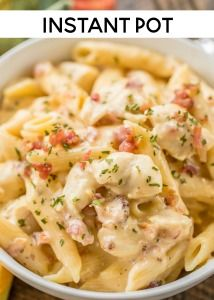 Instant Pot Crack Chicken Pasta - chicken pasta loaded with cheddar, bacon and ranch! 4 minutes of cook time. We ate t. Chicken Cordon Bleu Pasta, Chicken Pasta, Crack Chicken, Penne Pasta, Chicken Ham, Pasta Bake, Baked Chicken, Seared Salmon Recipes, Pan Seared Salmon