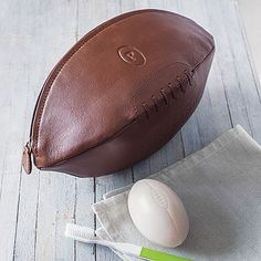 a0783d234f Leather Rugby Ball Wash Bag Gifts For Sports Fans, Soccer Art, Unique Socks,